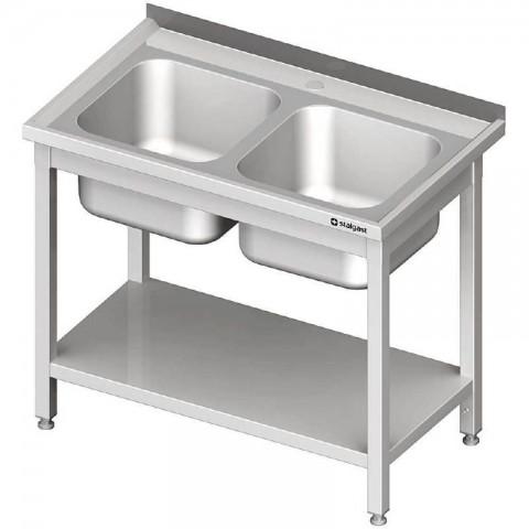 Stół ze zlewem 2-kom.,z półką 1000x600x850 mm skręcany