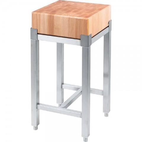 Kloc masarski drewniany 400x400x800 mm na podstawie ze stali nierdzewnej