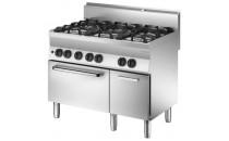 6-palnikowa kuchnia gazowa z piekarnikiem gazowym i neutralną szafką.
