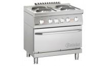 4-płytowa kuchnia elektryczna z piekarnikiem elektrycznym z termoobiegiem 2/1 GN
