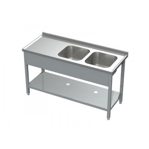 Stół ze zlewem 2-komorowym i półką 0507  EKO 1600x700x850mm