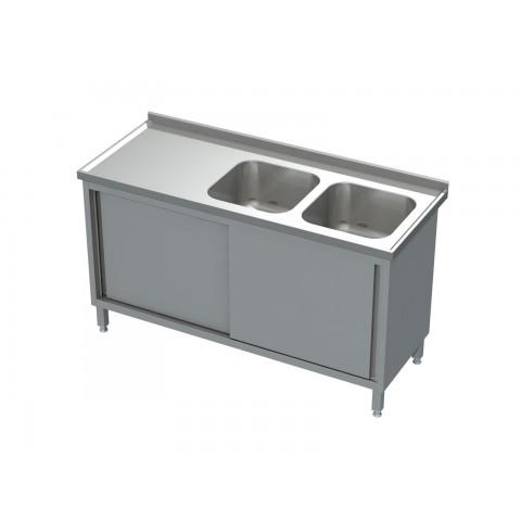Stół-szafka drzwi suwane ze zlewem 2-komorowym 0510  EKO 1000x600x850mm