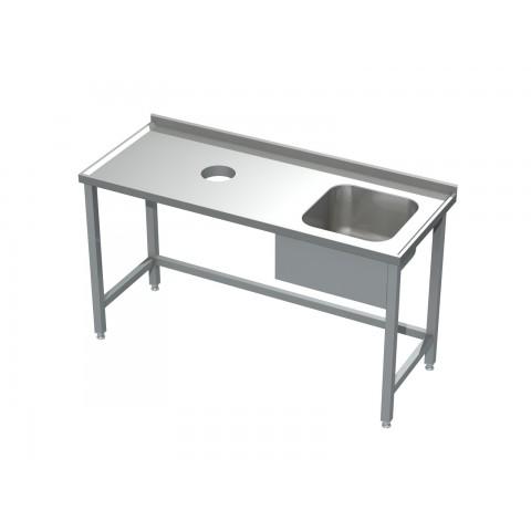 Stół ze zlewem i otworem na odpadki 0512  EKO 1000x600x850mm
