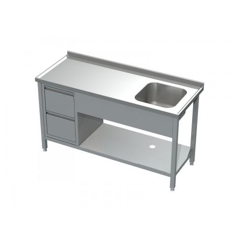 Stół ze zlewem, półką i blokiem 2 szuflad 0517 EKO 1000x600x850mm