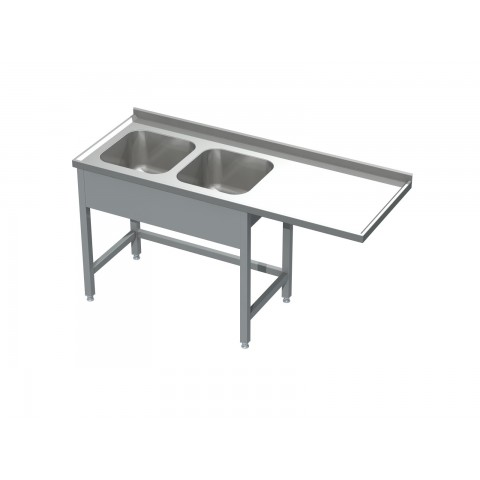 Stół ze zlewem 2-komorowym i miejscem na zmywarkę 0521 EKO 1600x600x850mm