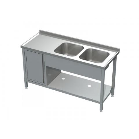 Stół ze zlewem 2-komorowym, półką i szafką 0523 EKO 1400x600x850mm