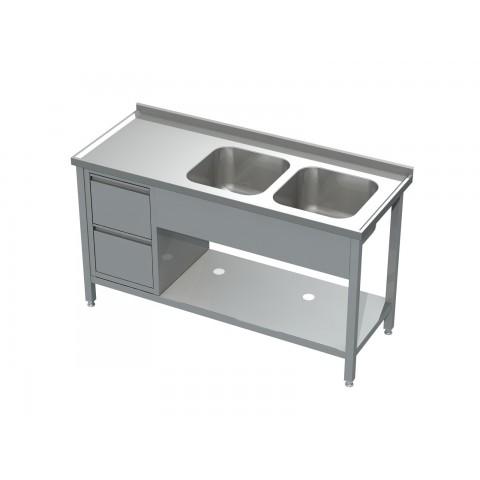 Stół ze zlewem 2-komorowym, półką i blokiem 2 szuflad 0524 EKO 1400x600x850mm