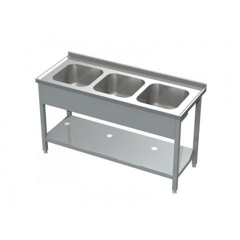 Stół ze zlewem 3-komorowym i półką 0531 EKO 1500x600x850mm