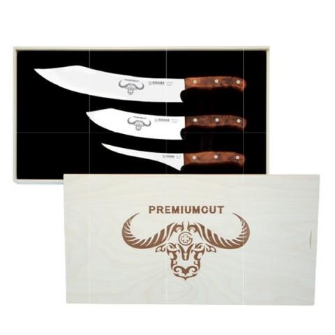 PREMIUMCUT zestaw 3 japońskich noży 30cm 20cm 17cm rączka orzech