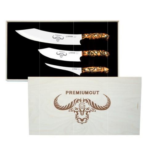 PREMIUMCUT zestaw 3 japońskich noży 30cm 20cm 17cm rączka mozaika