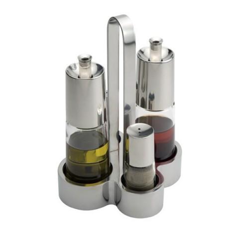 PINTINOX przyprawnik 4 elementowy oliva/vinegre/sól/pieprz