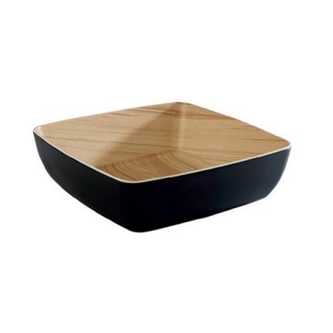 FRIDA miska melaminowa czarny+drewno 2.65L 25x25x7.5cm